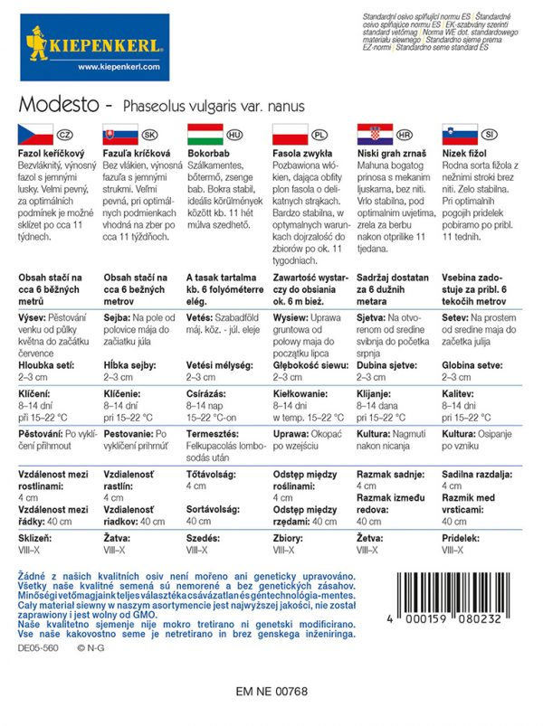 Bokorbab Modesto fajta vetőmag ismertető