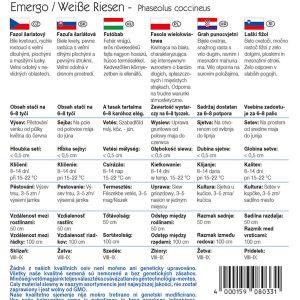 Futóbab Emergo Weisse Riesen fajta vetőmag ismertető