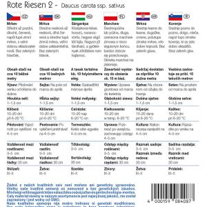 Sárgarépa Rote Riesen 2 fajta vetőmag ismertető